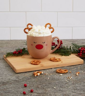 Brown Reindeer Christmas Mug Set