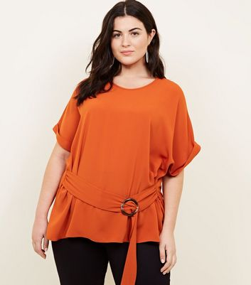 Curves Orange Ring Buckle Side Tunic Top