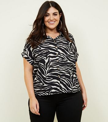 Curves Black Zebra Print Boxy Shirt