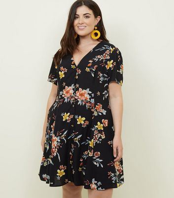 Curves Black Bright Floral Button Front Tea Dress