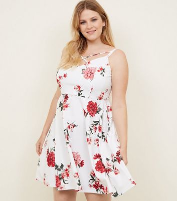 Curves White Floral Lattice Neck Skater Dress