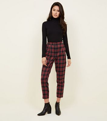 Navy and Red Check Tapered Trousers