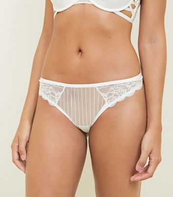 Cream Stripe Mesh Lace Thong
