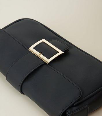 Black Buckle Front Chain Shoulder Bag New Look