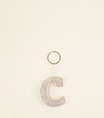 Silver Diamanté C Initial Keyring by New Look