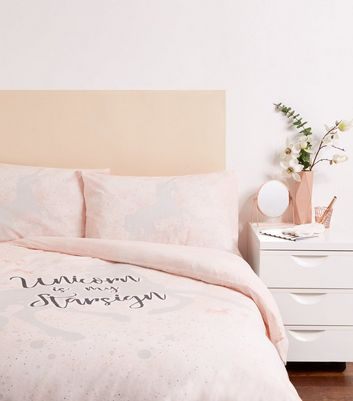 Pink Unicorn Slogan Cotton Double Duvet Set