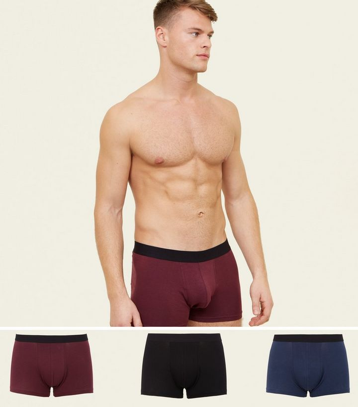 3 Pack Burgundy, Navy and Black Trunks Add to Saved Items Remove from Saved  Items