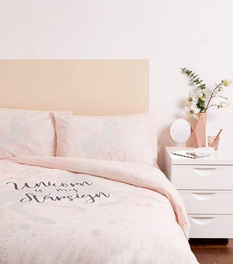 434360bad73 ... Pale Pink Unicorn Cotton Single Duvet Set ...
