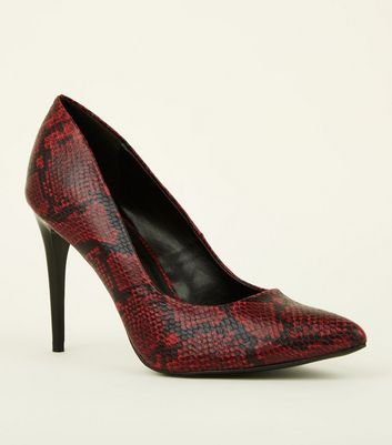 Red Faux Snake Pointed Court Shoes
