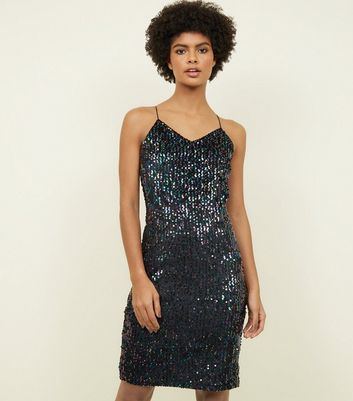 Blue Vanilla Black Sequin Slip Dress