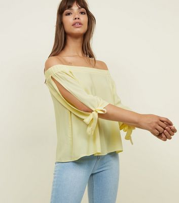 Apricot Yellow 3/4 Tie Sleeve Bardot Top
