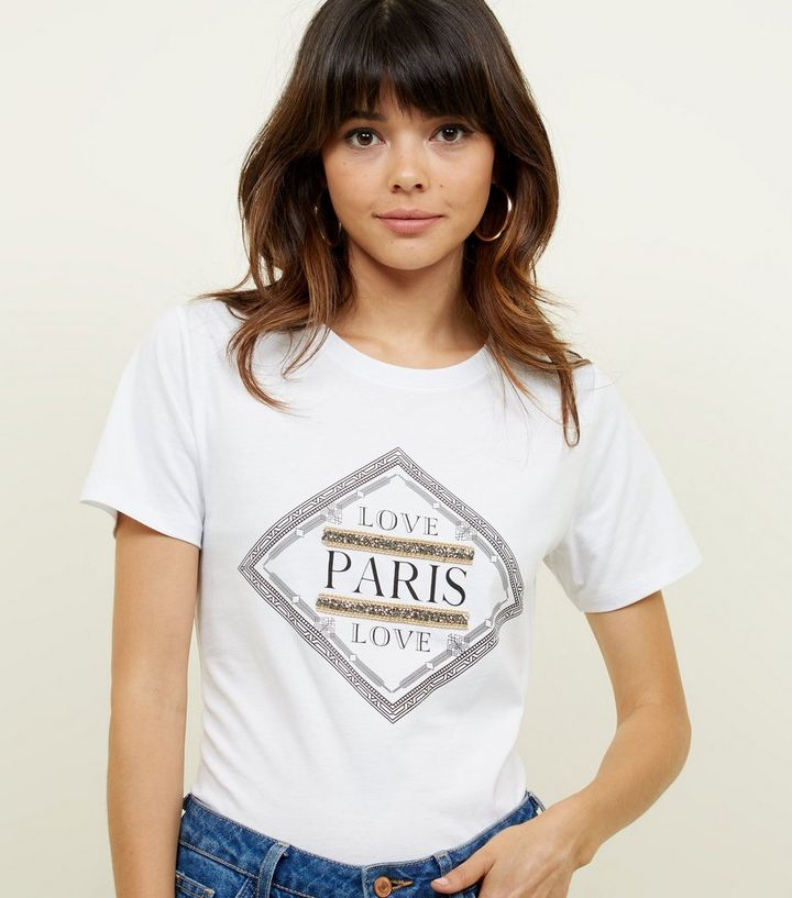 676977f4 White Love Paris Baroque Print T-Shirt | New Look