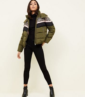 Olive Leopard Print Colour Block Puffer Jacket
