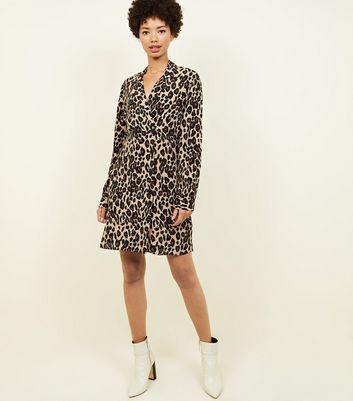 Brown Leopard Print Double Breasted Shirt Dress