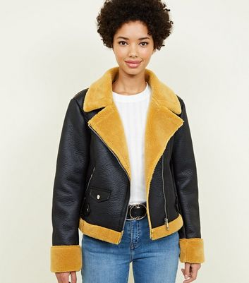 Mustard Faux Shearling Aviator Jacket