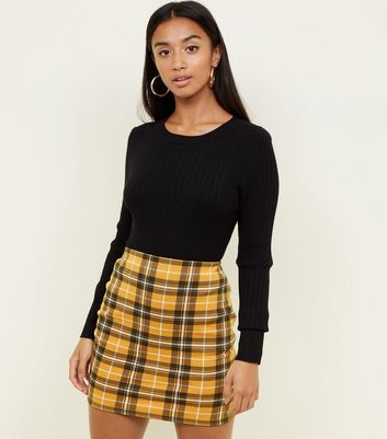 Petite Yellow Check Tube Skirt by New Look