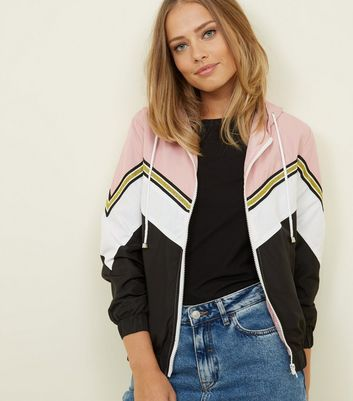 Pink Glitter Stripe Chevron Windbreaker Jacket