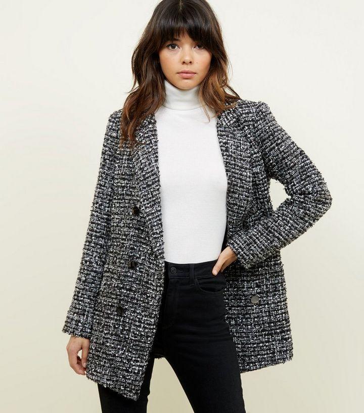 yksityiskohtainen ilme kuponkikoodit halvin hinta Black Metallic Bouclé Tweed Coat Add to Saved Items Remove from Saved Items
