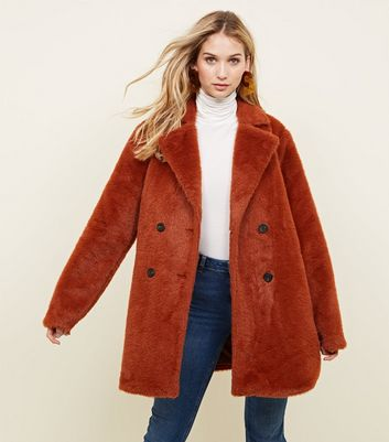 Rust Fluffy Faux Fur Double Breasted Coat