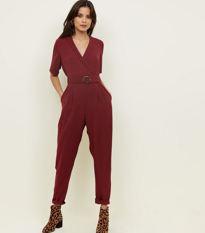 6bfcb6c1c78 Plum Collared Herringbone Wrap Front Jumpsuit