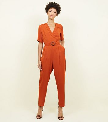 Orange Collared Herrinbone Wrap Front Jumpsuit by New Look