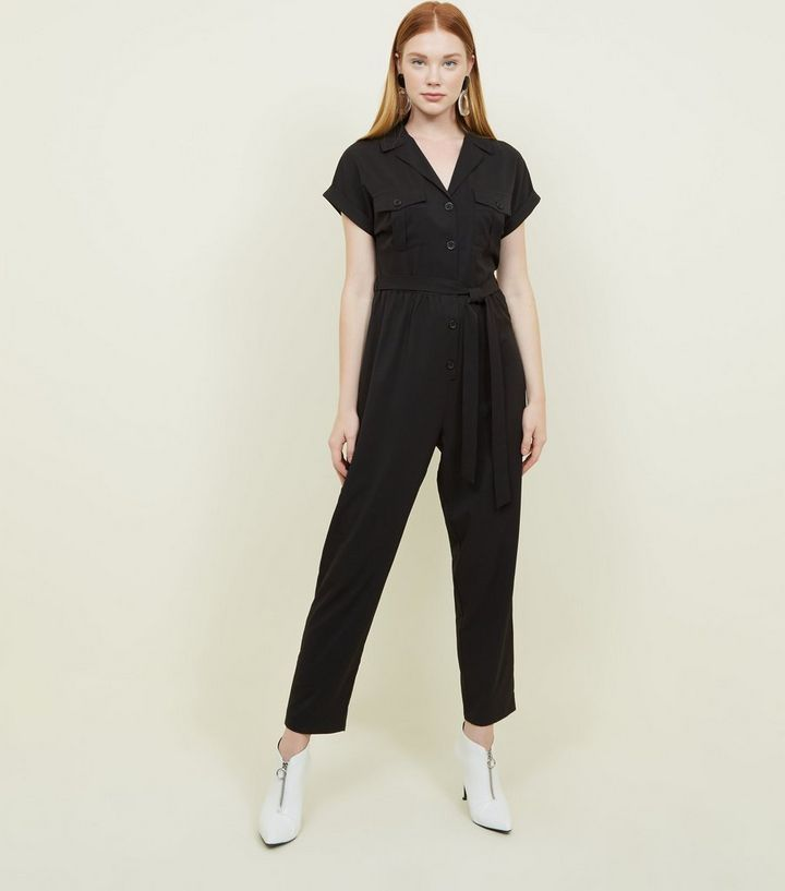 c1a4e551b6 Black Twill Button Front Utility Jumpsuit