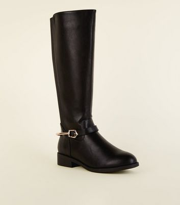 Black Extra Calf Fit Metal Stirrup Knee High Boots