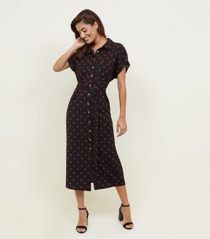 7aae5321710c4 Black Spot Print Twill Midi Shirt Dress | New Look