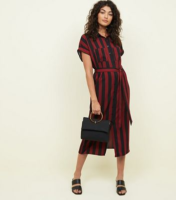 Red and Black Striped Shirt Midi Dress