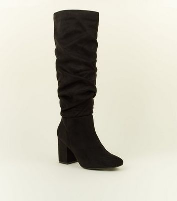 Black Extra Calf Fit Suedette Ruched Block Heel Boots