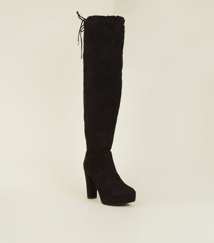 497dd740fe Wide Fit Black Suedette Over-The-Knee Platform Boots | New Look