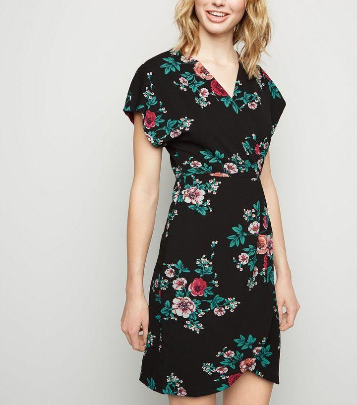 4e172ffb9dd1 Mela Black Floral Cap Sleeve Wrap Dress   New Look