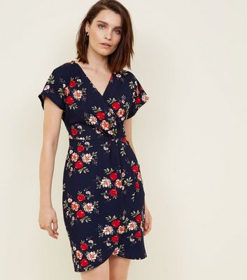 Mela Blue Floral Cap Sleeve Wrap Dress