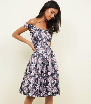 Mela Black Floral Bardot Neck Skater Dress