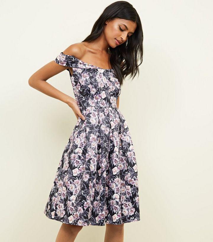 Mela Black Floral Bardot Neck Skater Dress  523f41542