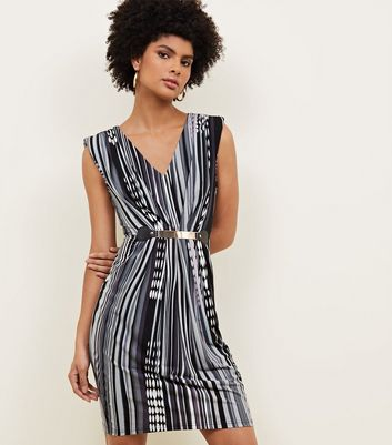 Mela Black Mixed Stripe Belted Dress New Look