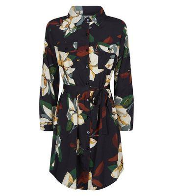 Mela Black Floral Shirt Dress New Look