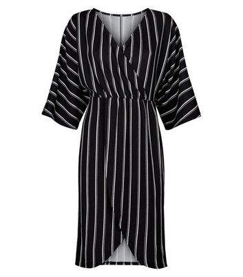 Mela Black Polka Dot Wrap Dress New Look