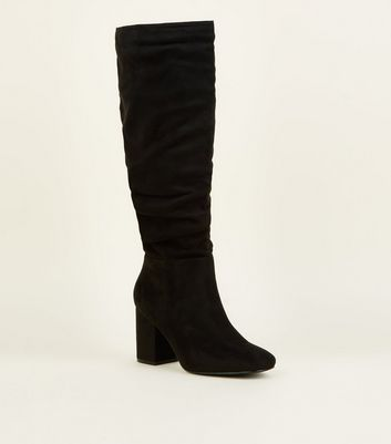 Wide Fit Black Suedette Ruched Block Heel Boots