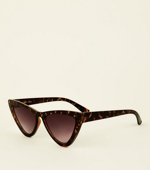 ac9800ae96 ... Dark Brown Tortoiseshell Print Cat Eye Sunglasses ...