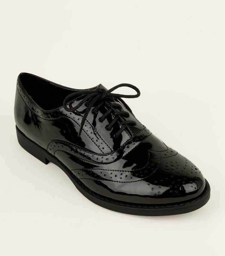 4552b6adb076d Wide Fit Black Patent Lace Up Brogues | New Look