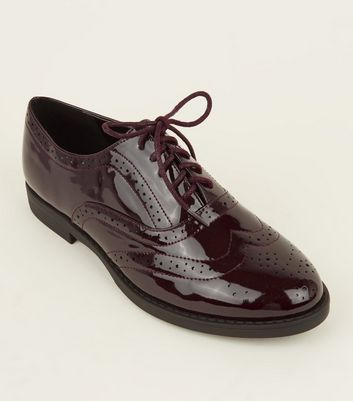 Wide Fit Dark Red Patent Lace Up Brogues