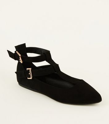 Wide Fit Black Suedette T-Bar Pointed Pumps