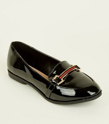 Wide Fit Black Patent Stripe Bar Loafers