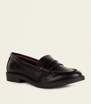 Wide Fit Black Leather-Look Penny Loafers