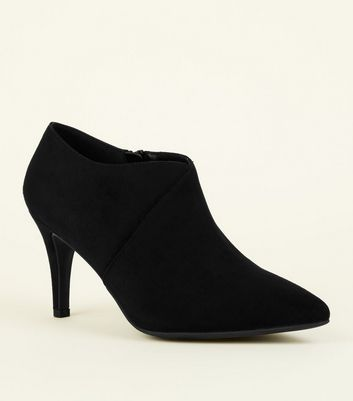 Wide Fit Suedette Asymmetric Top Ankle Boots