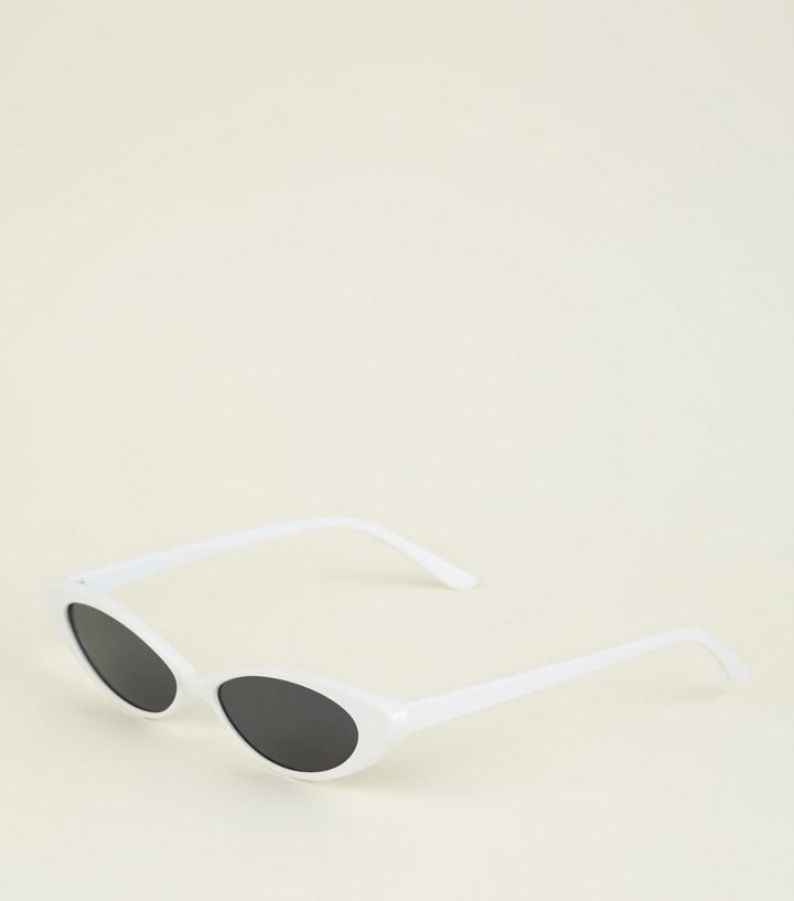 ed3e3897fcfc6e White Narrow Cat Eye Sunglasses