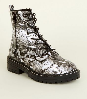 Black Faux Snake Lace-Up Hiker Boots