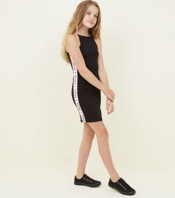Girls Black Paris Side Stripe Bodycon Dress