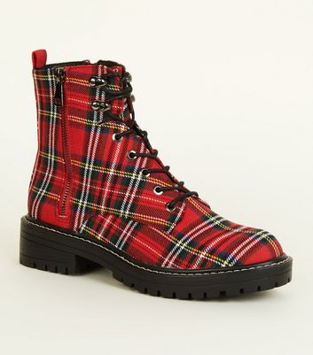 Red Tartan Lace-Up Hiker Boots